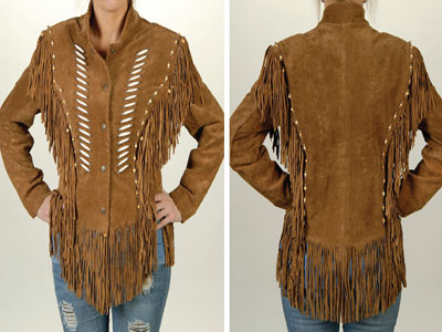 Suede / Fringe Jacket/ brown