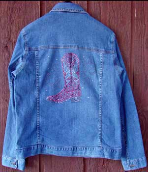 Cowgirl Crystal Boot Denim Jacket