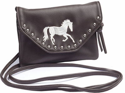 Chocolate Brown Embroidered Galloping Horse Bag