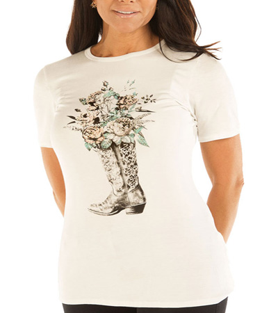 Flowering boot Ivory T-shirt