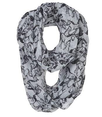 Grey Linear Horses Infinity Scarf