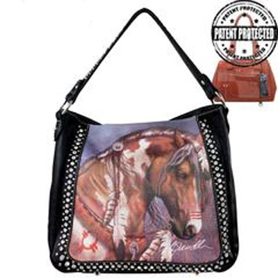 Horse Art Concealed Hand Gun Bag Black