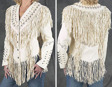 Cream Leather / Fringe Jacket