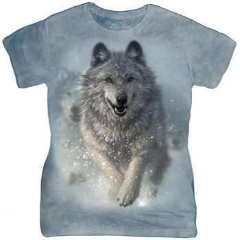 Snow Plow Wolf Ladies T- Shirt