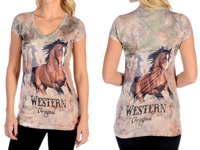 Western Horse Fitted T-shirt