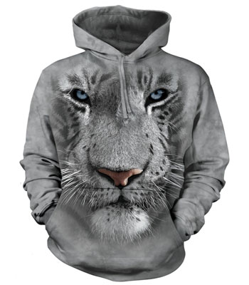White Tiger Face Hoodie